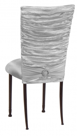 Silver Demure Chair Cover with Jeweled Band and Silver Stretch Knit Cushion on Mahogany Legs (1)