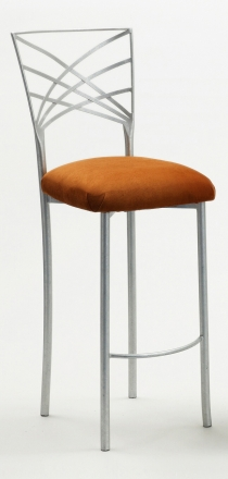 Silver Fanfare Barstool with Copper Suede Cushion (2)