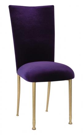 Deep Purple Velvet Chair Cover and Cushion on Gold Legs (2)