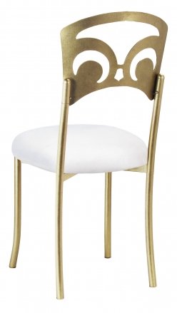 Gold Fleur de Lis with White Suede Cushion (1)