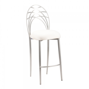 Silver Piazza Barstool with Ivory Stretch Knit Cushion (2)