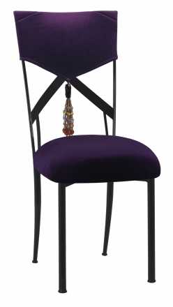 Eggplant Velvet Hat and Tassel Chair Cover with Cushion on Black Legs (2)