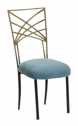 Two Tone Gold Fanfare with Ice Blue Suede Cushion (2)