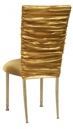 Gold Demure Chair Cover with Jeweled Band and Gold Stretch Knit Cushion on Gold Legs (2)
