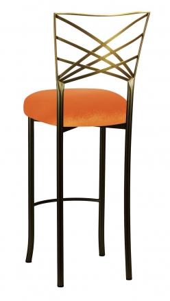 Two Tone Fanfare Barstool with Orange Velvet Cushion (1)