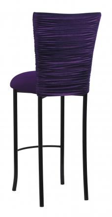 Eggplant Velvet Chloe Barstool and Cushion on Black Legs (1)