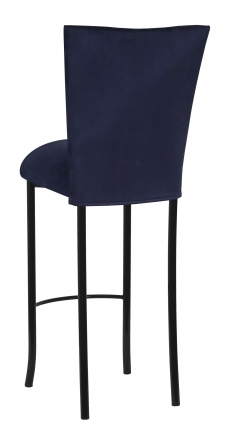 Navy Blue Suede Barstool Cover and Cushion on Black Legs (1)