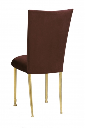 Chocolate Suede Chair Cover and Cushion on Gold Legs (1)
