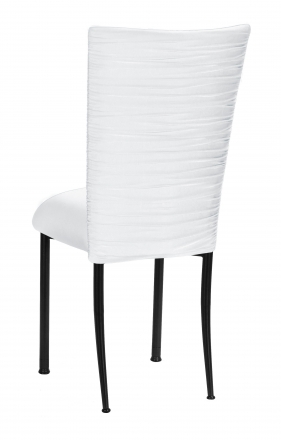Chloe White Stretch Knit Chair Cover and Cushion on Black Legs (1)