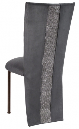 Charcoal Suede Jacket with Rhinestone Center and Cushion on Brown Legs (1)