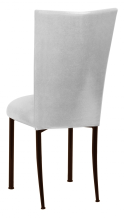 Metallic Silver Stretch Knit Chair Cover and Cushion on Brown Legs (1)