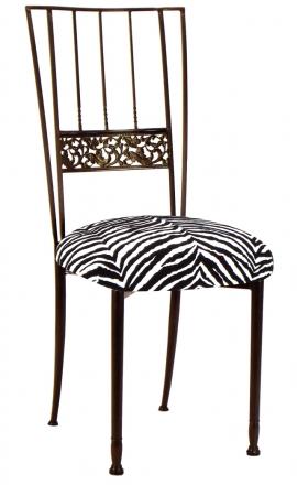 Mahogany Bella Fleur with Zebra Leatherette Cushion (2)