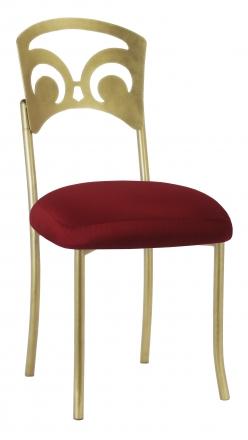 Gold Fleur de Lis with Burnt Red Dupioni Boxed Cushion (2)