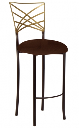 Two Tone Gold Fanfare Barstool with Chocolate Suede Cushion (2)
