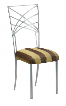 Silver Fanfare with Gold and Brown Stripe Cushion (2)