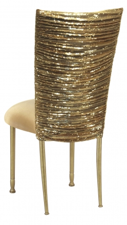 Gold Bedazzled Chair Cover with Gold Stretch Knit Cushion on Gold Legs (1)