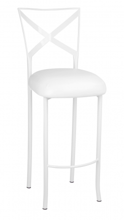 Simply X White Barstool with White Leatherette Boxed Cushion (2)