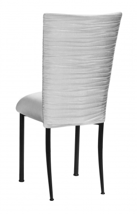 Chloe Silver Stretch Knit Chair Cover and Cushion on Black Legs (1)