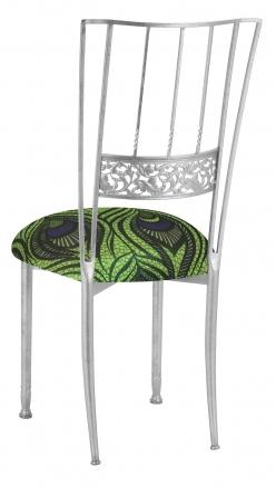 Silver Bella Fleur wth Green and Blue Peacock Stretch Knit Cushion (1)