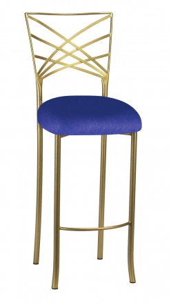 Gold Fanfare Barstool with Royal Blue Knit Cushion (2)