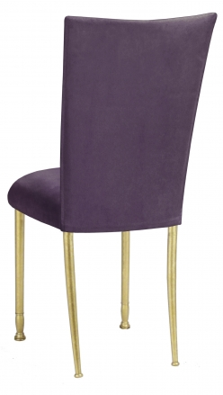 Lilac Suede Chair Cover and Cushion on Gold Legs (1)