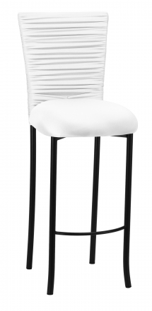 Chloe White Stretch Knit Barstool Cover with Rhinestone Accent Band and Cushion on Black Legs (2)