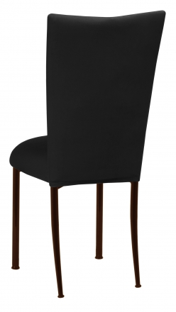 Black Velvet Chair Cover and Cushion on Brown Legs (1)