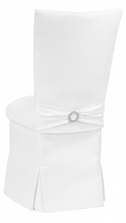 White Suede Chair Cover, Jewel Belt, Cushion and Skirt (1)