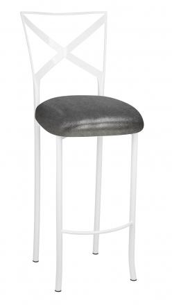 Simply X White Barstool with Gunmetal Knit Cushion (2)