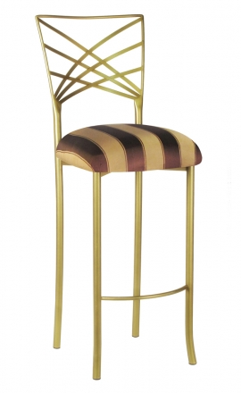 Gold Fanfare Barstool with Brown and Gold Stripe Cushion (2)