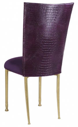 Purple Croc Chair Cover with Eggplant Velvet Cushion on Gold Legs (1)