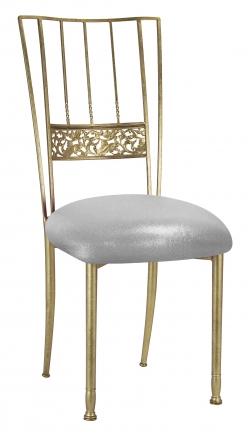 Gold Bella Fleur with Metallic Silver Stretch Knit Cushion (2)