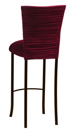 Cranberry Velvet Chloe Barstool Cover and Cushion on Brown Legs (1)