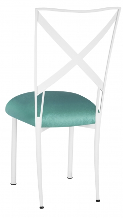 Simply X White with Turquoise Velvet Cushion (1)