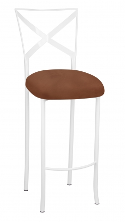 Simply X White Barstool with Cognac Suede Cushion (2)