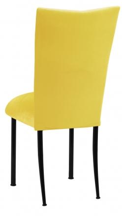 Sunshine Yellow Velvet Chair Cover and Cushion on Black Legs (1)