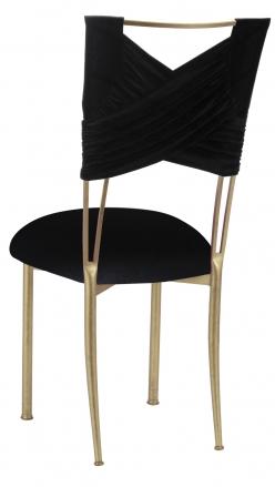 Black Velvet Sweetheart Chair Cover and Cushion on Gold Legs (1)