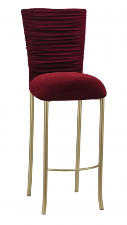 Cranberry Velvet Chloe Barstool Cover and Cushion on Gold Legs (2)
