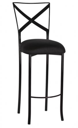 Blak. Barstool with Black Stretch Knit Cushion (2)