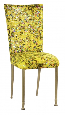 Yellow Paint Splatter Chair Cover and Cushion on Gold Legs (2)