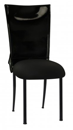 Black Patent Leather Chair Cover with Rhinestone Bow and Black Stretch Knit Cushion on Black Legs (2)