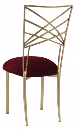 Gold Fanfare with Cranberry Velvet Cushion (1)