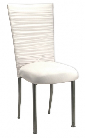 Chloe White Stretch Knit Chair Cover, Jewel Band and Cushion on Silver Legs (2)