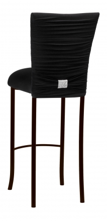 Chloe Black Stretch Knit Barstool Cover with Rhinestone Accent Band and Cushion on Brown Legs (1)