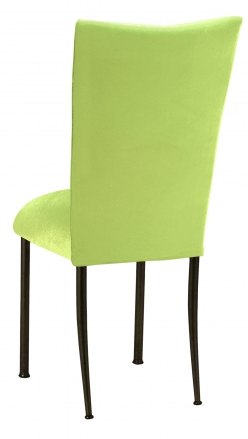 Lime Green Velvet Chair Cover and Cushion on Brown Legs (1)