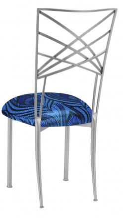 Silver Fanfare with Blue and Purple Peacock Stretch Knit Cushion (1)