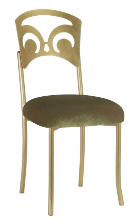 Gold Fleur de Lis with Olive Velvet Cushion (2)