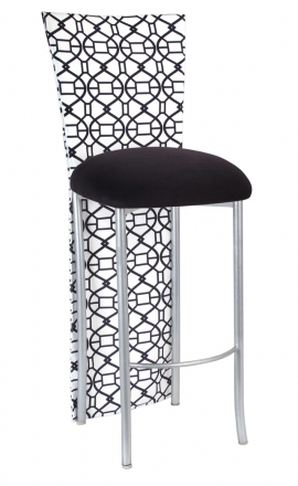 Black and White Kaleidoscope Barstool Jacket with Black Suede Cushion on Silver Legs (2)