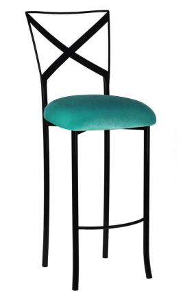 Blak. Barstool with Turquoise Velvet Cushion (2)