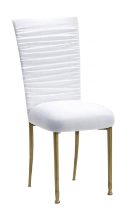 Chloe White Stretch Knit Chair Cover and Cushion on Gold Legs (2)